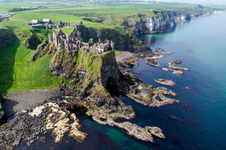 aerial picture of Dunluce Castle