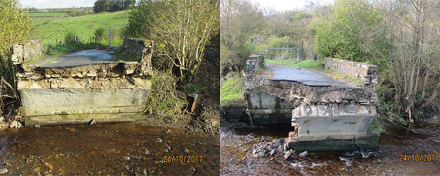 The Glenrandal Bridge, Claudy following flooding in October 2017