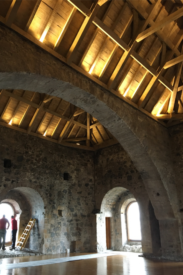 Interior photograph of new Carrickfergus Castle Great Tower Roof
