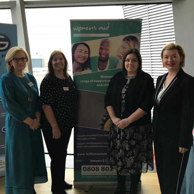 Minister at Women's Aid Conference with Marianne O'Kane PPS, Noelle Collins and Kelly Andrews Belfast & Lisburn Women's Aid