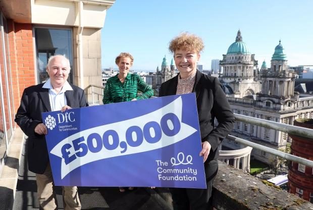 Announcing a £250,000 investment in a new philanthropy fund is Communities Minister Carál Ní Chuilin pictured with Siofra Healy, Director of Philanthropy at the Community Foundation and philanthropist Dr Terry Cross.