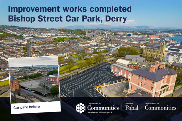 Graphic with before and after images of the car park at Bishop Street in Derry