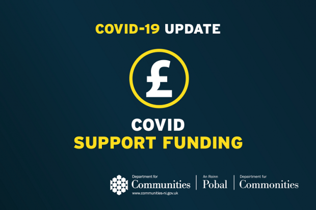 Blue Infographic which says Covid support funding