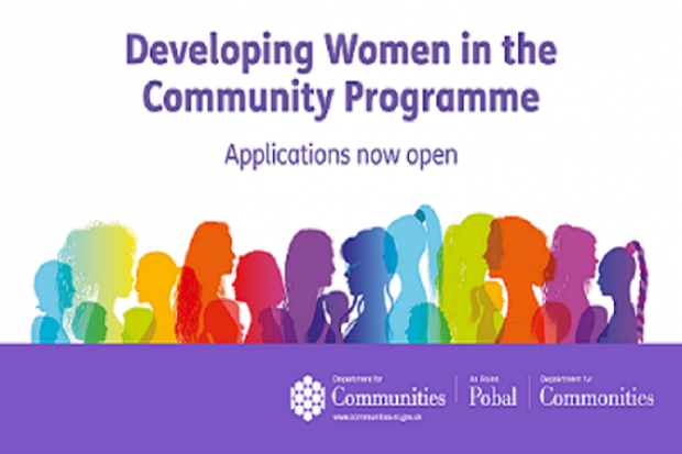 Infographic with the following wording: Developing Women in the Community Programme applications now open