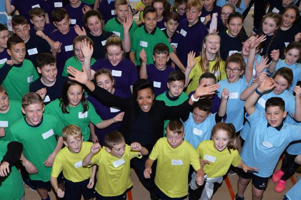 Dame Kelly Holmes with a group of young people at the launch of this year's Young Leaders Training and Ambassadors Programme