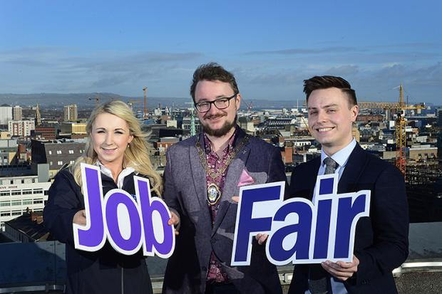 Kelly Frizzell – Surveyor NIE; Belfast's Deputy Lord Mayor, Councillor Emmet McDonough-Brown; Department for Communities' Head of Employer Services Stephen McGlew