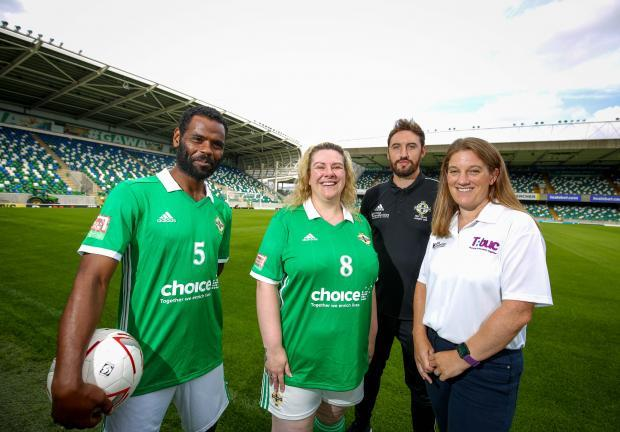Kathryn Hill with members of the Northern Ireland Homeless World Cup squad