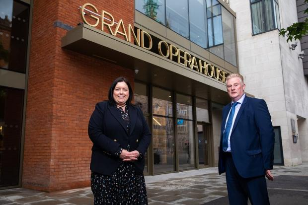Communities Minister Deirdre Hargey is pictured outside the Grand Opera House with Colin Loughran, Chairman Grand Opera House Trust