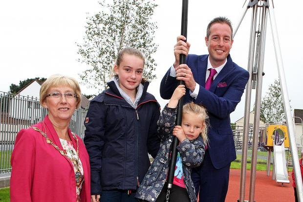Minister Givan opening play park in Irish Street
