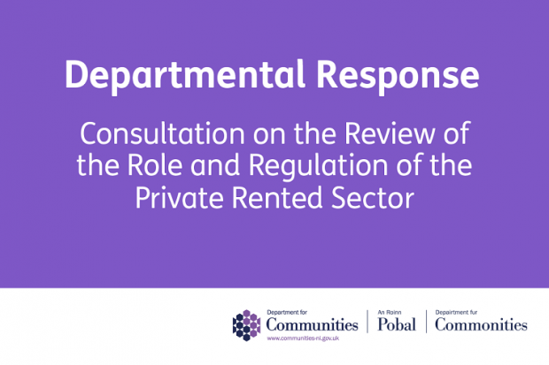 Purple infographic with the wording Departmental Response Consultation on the Review of the Role and Regulation of the private rented sector.