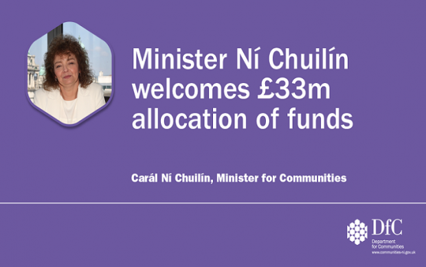 Minister Ní Chuilín welcomes £33m allocation of funds