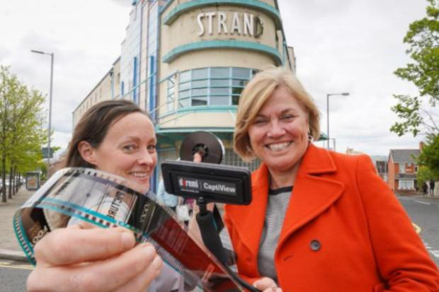 Tracy Meharg and Mimi Turtle outside the Strand Arts Centre, Belfast
