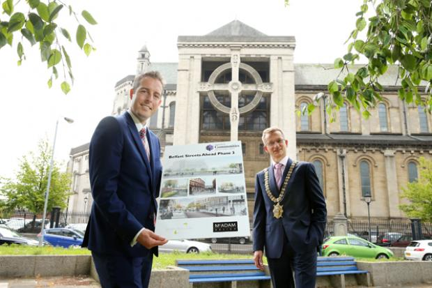 Communities Minister, Paul Givan MLA and Belfast Lord Mayor, Alderman Brian Kingston pictured at the launch of Phase 3 of the Belfast Streets Ahead programme, which aims to improve the streetscape from Castle Place to the new Ulster University campus on Y