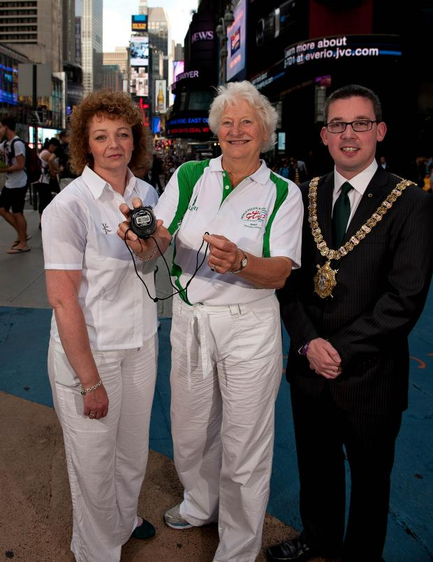 DCAL Minister Carál Ní Chuilín in Times Square, New York, with Dame Mary Peters (2013 Games Patron) and Lord Mayor of Belfast, Niall Ó Donnghaile