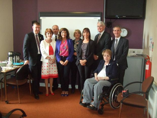 Social Development Minister Mervyn Storey, MLA officially opens a new refuge for women & children suffering from domestic violence & abuse in Ballymena. He is pictured with partners from Ulidia Housing Association, NIHE, Women's Aid & local stakeholders