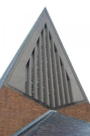 Detail from the Chapel of Unity, Methodist College, Belfast, representing praying hands