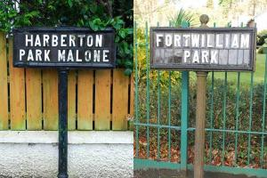 A selection of Belfast's unique street signs – protected though listing